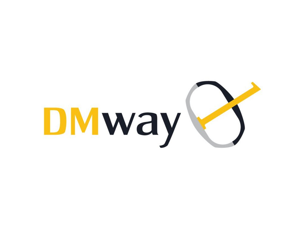 DMway logo with yellow and blue