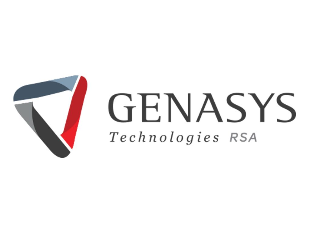 Genasys logo in grey and red with triangle logo